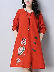 Недорогие -Жен. Шинуазери (китайский стиль) Свободный силуэт Свободный силуэт Платье - Цветочный принт, Вышивка До колена