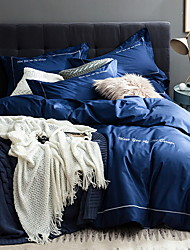 cheap -Duvet Cover Sets Solid Colored Poly / Cotton Yarn Dyed 4 Piece