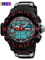Недорогие -SKMEI Муж. Спортивные часы Армейские часы электронные часы Японский Цифровой 50 m Защита от влаги Будильник Календарь PU Группа Аналого-цифровые На каждый день Мода Черный -  / Один год / Секундомер