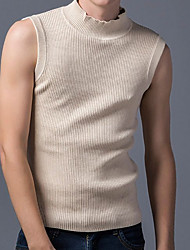 cheap -Men's Sleeveless Slim Pullover - Solid Colored Round Neck