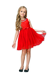 cheap -Girl's Party Holiday Solid Dress, Cotton Acrylic Polyester Spring Summer Sleeveless Simple Vintage Cute Gold Black Red