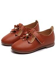 Недорогие -Девочки Обувь Полиуретан Кожа Весна Лето Удобная обувь На плокой подошве Заклепки Цветы для Повседневные Для праздника Коричневый Красный