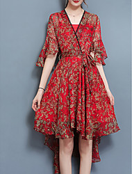 cheap -Women's Going out Boho Slim Swing Dress - Floral Red High Waist V Neck