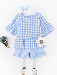 cheap -Girls' Daily Color Block Clothing Set, Polyester Summer Short Sleeves Simple Light Blue