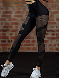 cheap -Women's Stitching Legging - Mesh, Solid Colored Mid Waist