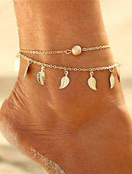 cheap -Leaf Bohemian / Multi Layer / Bikini Anklet - Women's Gold / Silver Bohemian / Multi Layer / Bikini Circle Anklet For Gift / Evening Party