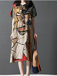 abordables -Femme Coton Ample Robe - Imprimé, Couleur Pleine Mi-long