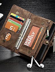 Недорогие -Кейс для Назначение Apple iPhone X Кошелек / Бумажник для карт / Защита от удара Чехол Однотонный Твердый Настоящая кожа