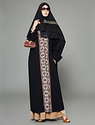 cheap -Women's Plus Size Going out Boho Puff Sleeve Loose Loose Swing Abaya Dress - Floral Geometric Color Block Print Patchwork High Waist Maxi