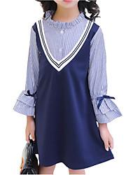 baratos -Menina de Vestido Diário Feriado Sólido Listrado Primavera Outono Algodão Poliéster Manga Longa Fofo Básico Azul Marinha