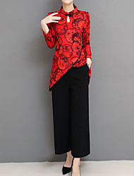 cheap -Women's Work Chinoiserie Long Set - Floral, Print Pant Stand