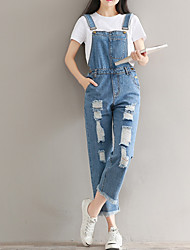 cheap -Women's Cotton Loose Jeans / Overalls Pants - Solid Colored Hole / Spring / Summer / Going out