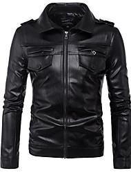 Недорогие -Муж. Кожаные куртки На каждый день - Однотонный С принтом