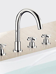 cheap -Contemporary Roman Tub Handshower Included Ceramic Valve Five Holes Three Handles Five Holes Chrome, Bathtub Faucet