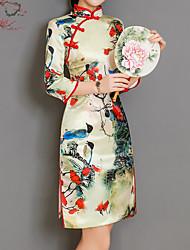 abordables -Femme Chinoiserie Mince Gaine Robe Fleur Taille haute Col Ras du Cou Mi-long