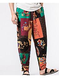 Недорогие -мужские нормальные среднего роста микро-эластичные брюки из шифона, старинный цветочный полиэстер / хлопковая смесь весеннее лето