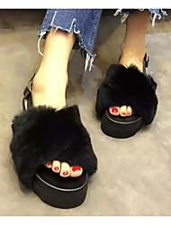 cheap -Women's Shoes Fur Spring Fall Comfort Slippers & Flip-Flops Flat Heel for Black Gray