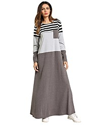cheap -Women's Basic / Boho A Line / Loose Dress - Striped Maxi / Spring / Fall