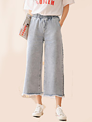 cheap -Women's Simple Wide Leg Jeans Pants - Solid Colored