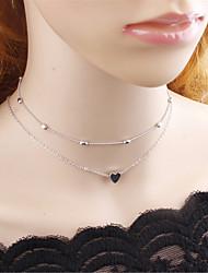 abordables -Accessoires de Lolita Lolita Classique/Traditionnelle Mignon Argent Accessoires Lolita  Couleur Pleine Cœur Collier Alliage