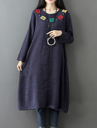 cheap -Women's Plus Size Boho Loose Loose Dress - Color Block, Embroidered