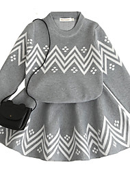 cheap -Girl's Daily School Solid Geometric Print Dress, Wool Rabbit Fur Cotton Spring Fall Long Sleeves Cute Active Gray