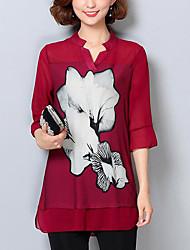 baratos -Mulheres Blusa Moda de Rua Estampado,Floral