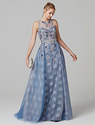 cheap -A-Line Illusion Neck Sweep / Brush Train Tulle Prom / Formal Evening Dress with Beading / Crystals by TS Couture®