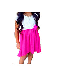 cheap -Girl's Daily School Solid Patchwork Dress, Cotton Acrylic Polyester Spring Summer Sleeveless Vintage Casual Fuchsia