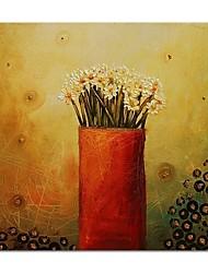 preiswerte -Hang-Ölgemälde Handgemalte - Stillleben Blumenmuster / Botanisch Zeitgenössisch Modern Segeltuch