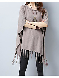 preiswerte -Damen Wolle Kurzarm Lang Pullover-Volltonfarbe,Druck