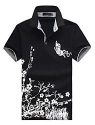 Недорогие -Муж. Офис С принтом Polo, Рубашечный воротник Тонкие Шинуазери (китайский стиль) Горошек Цветочный принт Животное Хлопок