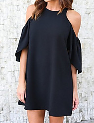cheap -Women's Loose Loose Dress - Solid Colored Black, Basic High Waist Off Shoulder