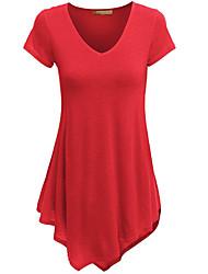 abordables -Mujer Camiseta, Escote en Pico Un Color