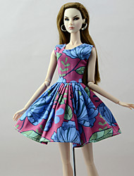 cheap -Dresses Dresses For Barbie Doll Red / Blue Poly/Cotton Linen/Polyester Blend Dress For Girl's Doll Toy