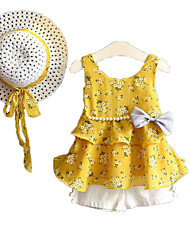 cheap -Girls' Daily Holiday Solid Floral Clothing Set, Cotton Polyester Summer Sleeveless Cute Active Blushing Pink Yellow