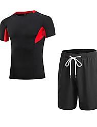 preiswerte -Herrn Active Set Kurzarm Kurze Hose Atmungsaktivität Kleidungs-Sets für Jogging Polyester Weiß Schwarz Blau Rot/Weiß Grau S M L XL XXL