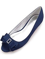 cheap -Women's Shoes Satin Spring / Summer Comfort Wedding Shoes Flat Heel Peep Toe Rhinestone / Bowknot / Sparkling Glitter Dark Blue / Silver