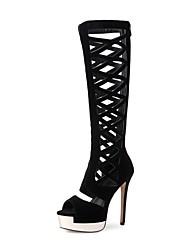 preiswerte -Damen Schuhe Nubukleder Frühling Sommer Modische Stiefel Stiefel Stöckelabsatz Peep Toe Kniehohe Stiefel für Party & Festivität Schwarz