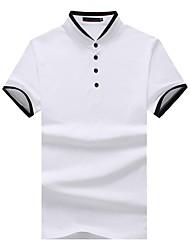 cheap -Men's Work Chinoiserie Cotton Slim T-shirt - Color Block Check, Patchwork
