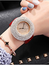 cheap -Women's Pave Watch Casual Watch Genuine Leather Band Casual / Fashion Black / White / Red