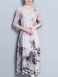 abordables -Femme Sortie Chinoiserie Soie Ample Trapèze Robe - Imprimé, Fleur Midi