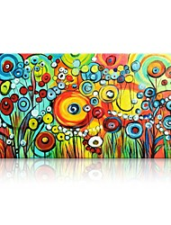 cheap -STYLEDECOR Modern Hand Painted Abstract the Circle Flowers Oil Painting on Canvas for Wall Art