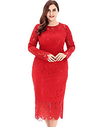 cheap -Women's Plus Size Holiday / Work Slim Bodycon Dress - Solid Colored / Summer