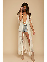 cheap -Women's Plunging Neckline Cover-Up - Solid Colored Tassel Thong