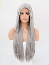 abordables -Perruque Lace Front Synthétique Droit Coupe Dégradée Cheveux Synthétiques Résistant à la chaleur Gris Perruque Femme Long Dentelle frontale Gris / Oui