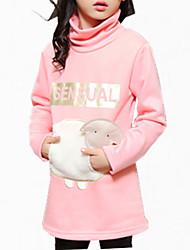 baratos -Menina de Vestido Floral Inverno Todas as Estações Algodão Manga Longa Desenho Preto Rosa Cinzento