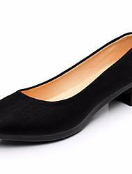 Недорогие -Жен. Обувь Ткань Весна / Лето Удобная обувь Мокасины и Свитер На толстом каблуке Круглый носок Черный