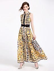 Недорогие -Жен. Уличный стиль Оболочка Платье - Цветочный принт Леопард, С принтом Средней длины