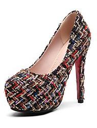 baratos -Mulheres Sapatos Tecido Primavera Verão Plataforma Básica Saltos Salto Agulha Ponta Redonda para Escritório e Carreira Festas & Noite